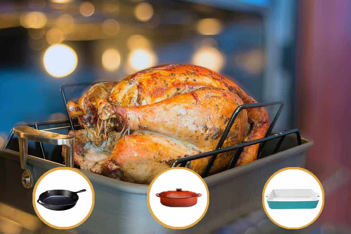 Newly roasted chicken placed on roasting pan, 8 Roasting Pan Alternatives