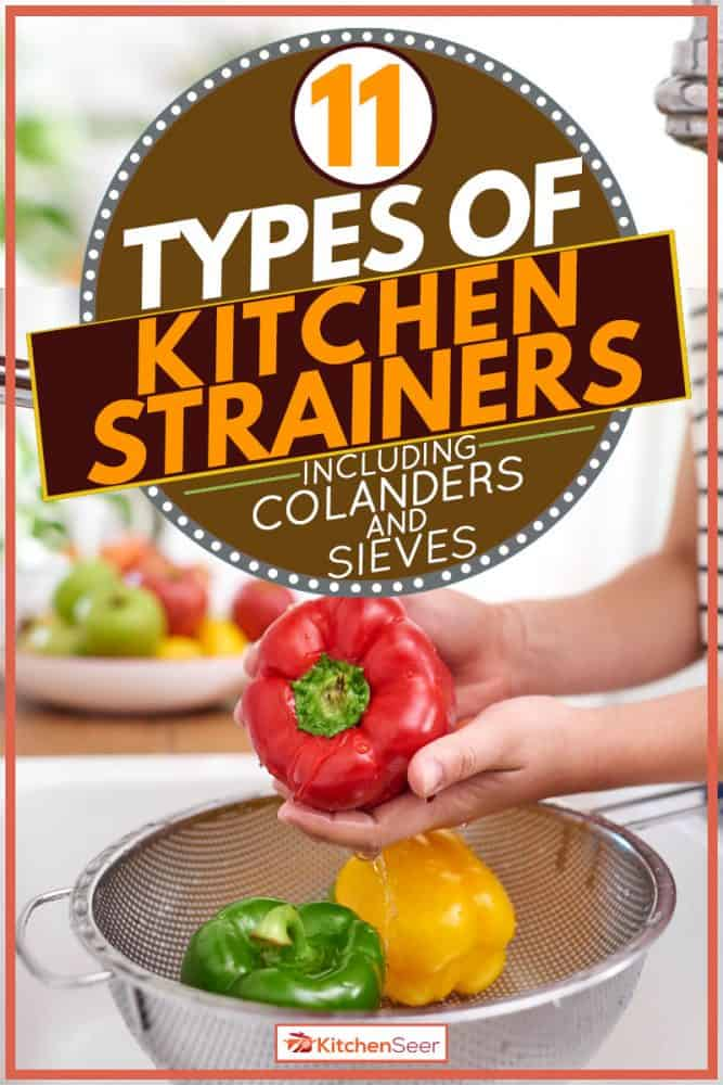 Woman washing huge red bell pepper in preparation for cooking, 11 Types Of Kitchen Strainers [Inc. Colanders And Sieves]