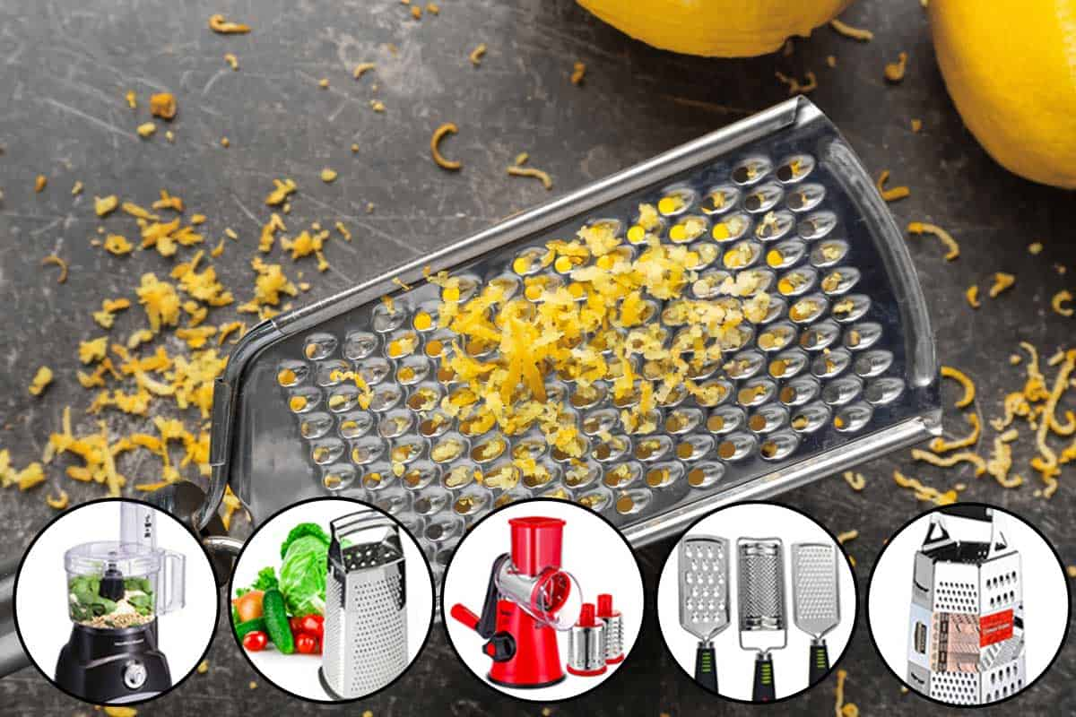 A grater with a lemon zest on a table and a collage of different types of graters, 12 Types of Graters [and How to Use Them]
