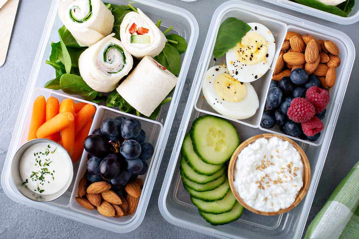 3-compartment meal containers with tortilla wraps, eggs, cottage cheese, fruits and vegetables, Best 3-Compartment Meal Prep Containers