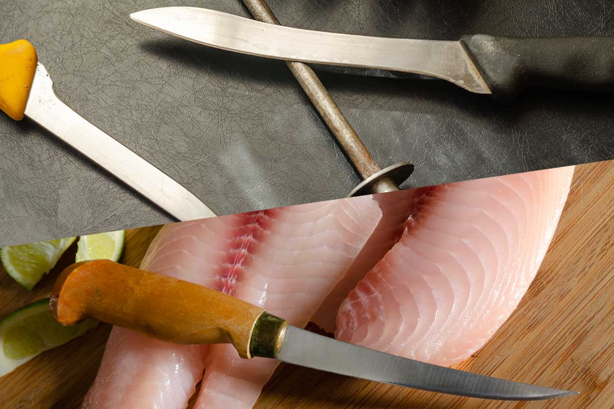 A collage of a boning knife and a fillet knife, Boning Knife vs. Fillet Knife: What's The Difference?