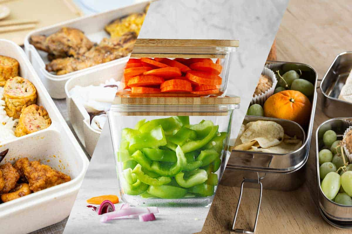 Collage of plastic, glass and stainless steel food container, Is It Better To Store Food In Plastic, Glass, Or Stainless Steel?