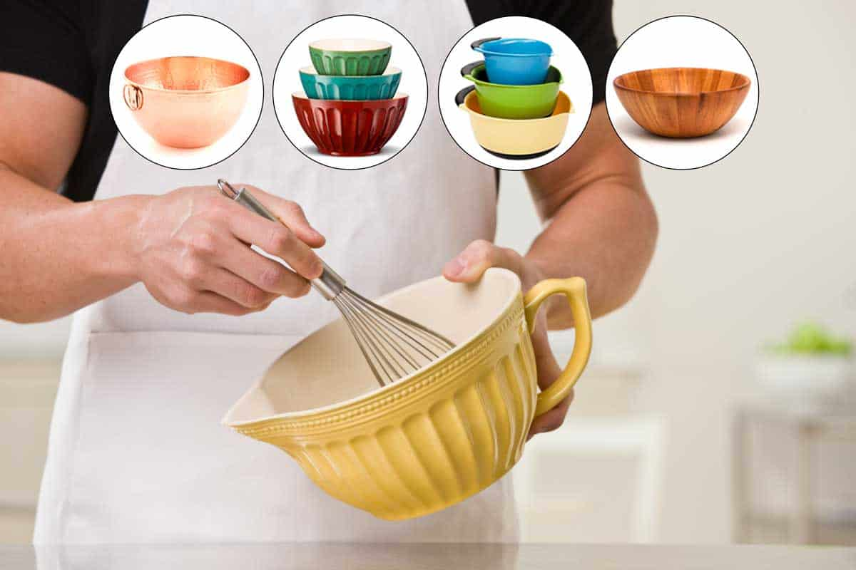 9 Types of Mixing Bowls You Should Know, Cropped image of a white muscular male with whisk and a collage of mixing bowl