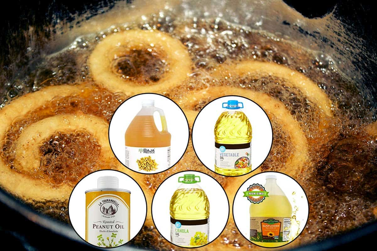 Onion Rings cooking in hot bubbly oil in a deep fryer with five cooking oils attached, What Kind of Oil Do You Put in a Deep Fryer?