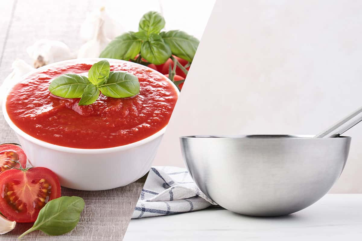 Tomato sauce is going to be transferred in stainless steel bowl, Can You Put Tomato Sauce in a Stainless Steel Bowl?