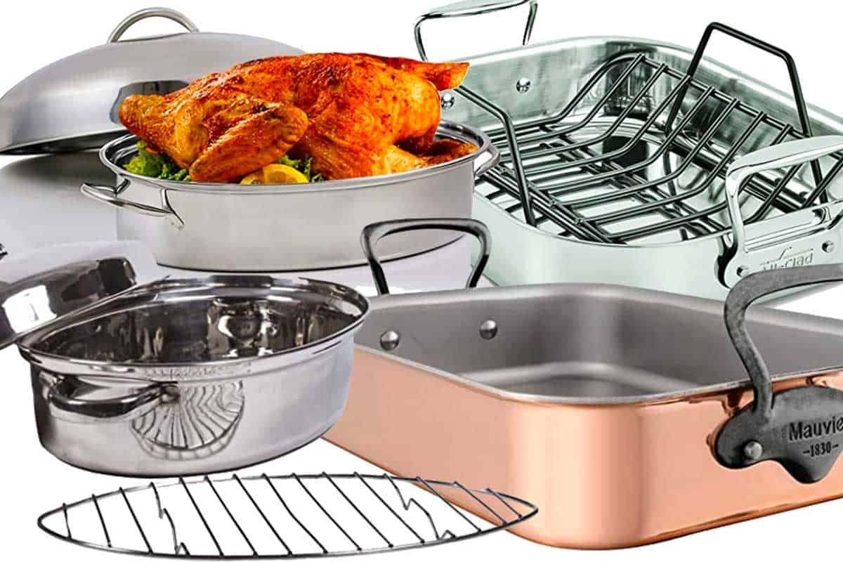 A collage of shallow roasting pans in plain white background, What is Considered a Shallow Roasting Pan?