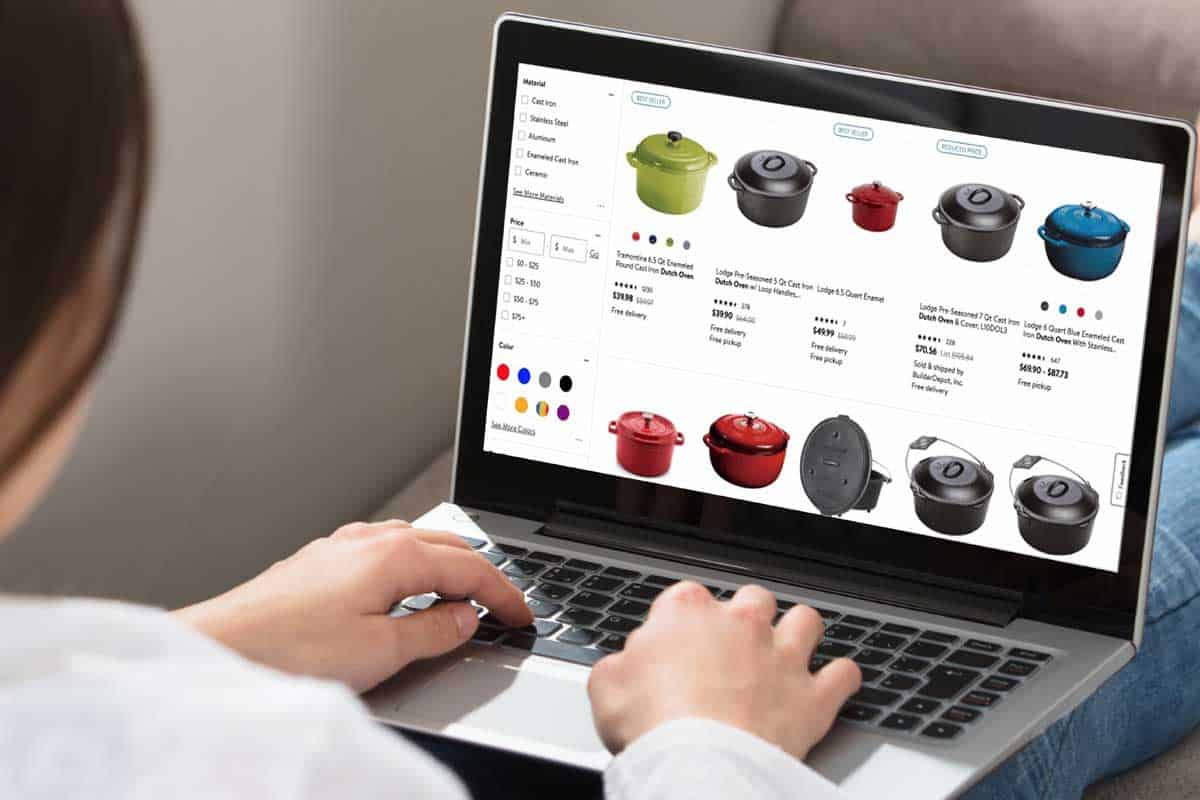 Woman online shopping to buy dutch oven with a laptop, Where To Buy A Dutch Oven [Top 30 Online Stores]