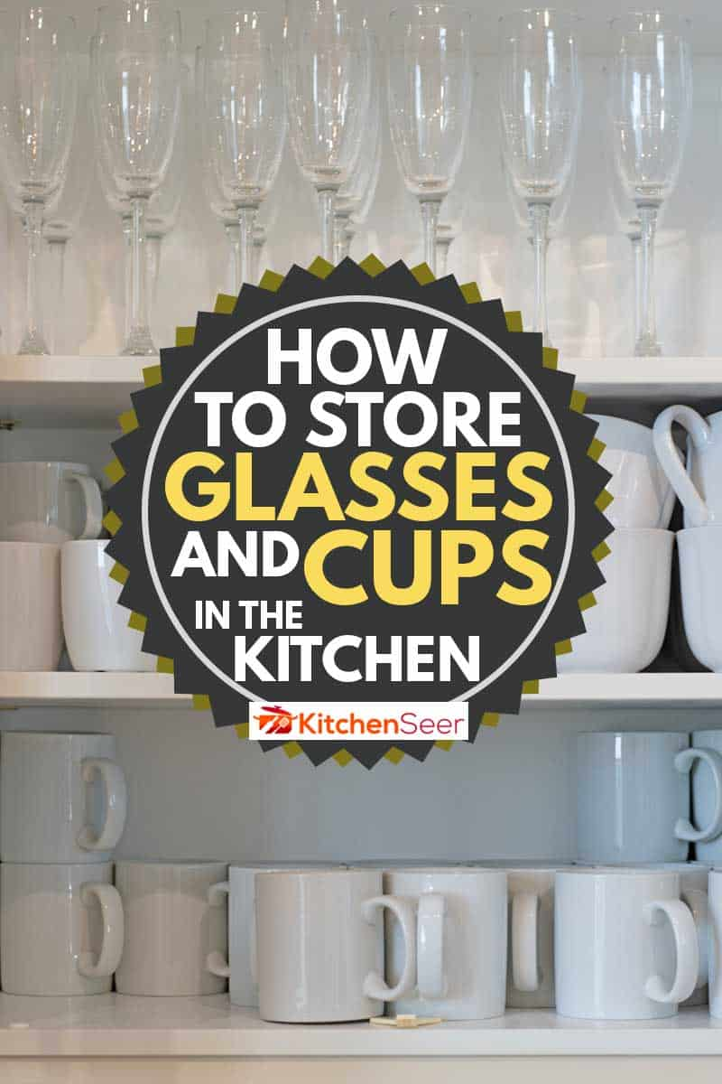 A shelf storage full of white mugs and champagne glassesHow to Store Glasses and Cups in The Kitchen