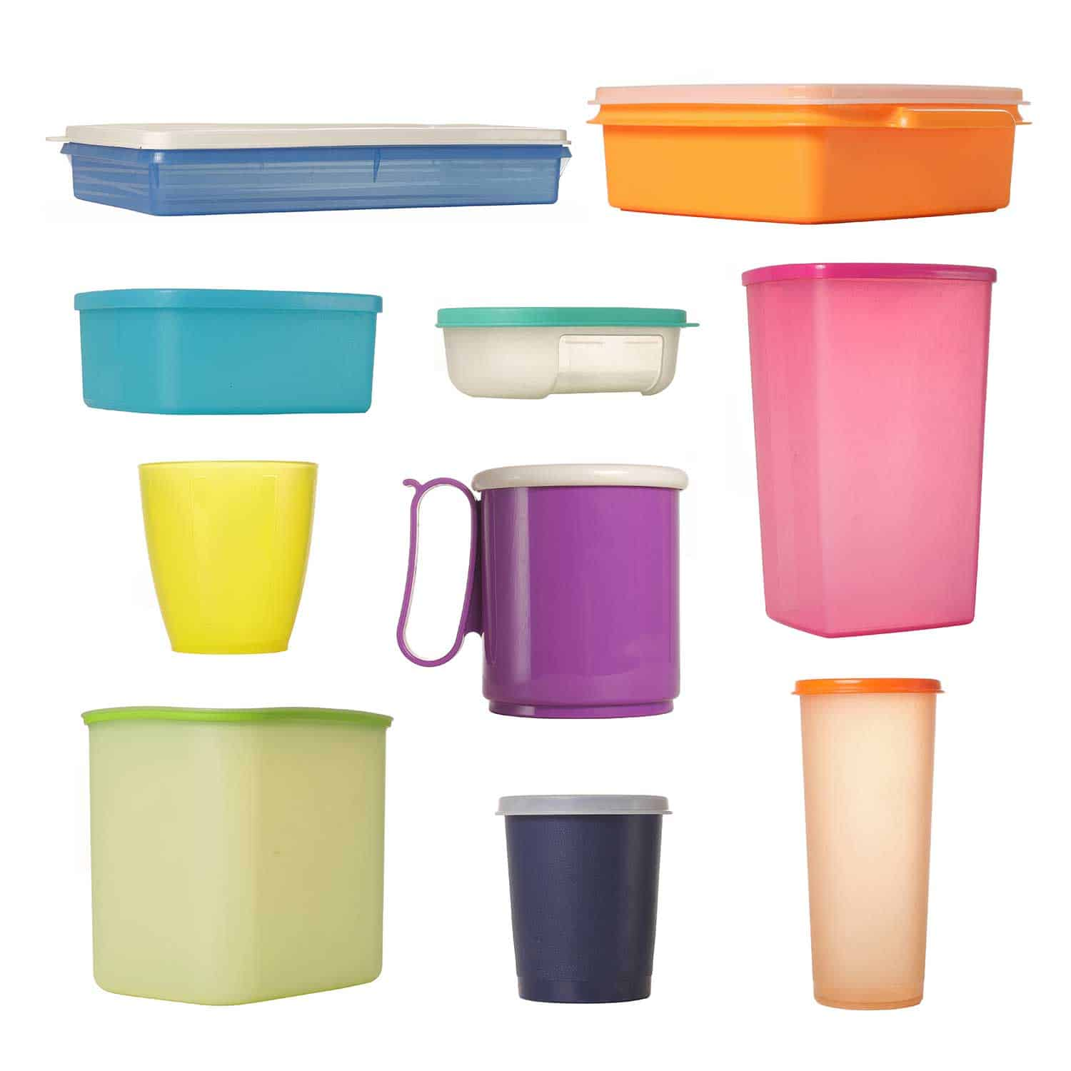 Collage of different Tupperware products