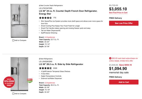 Designer Appliances website page