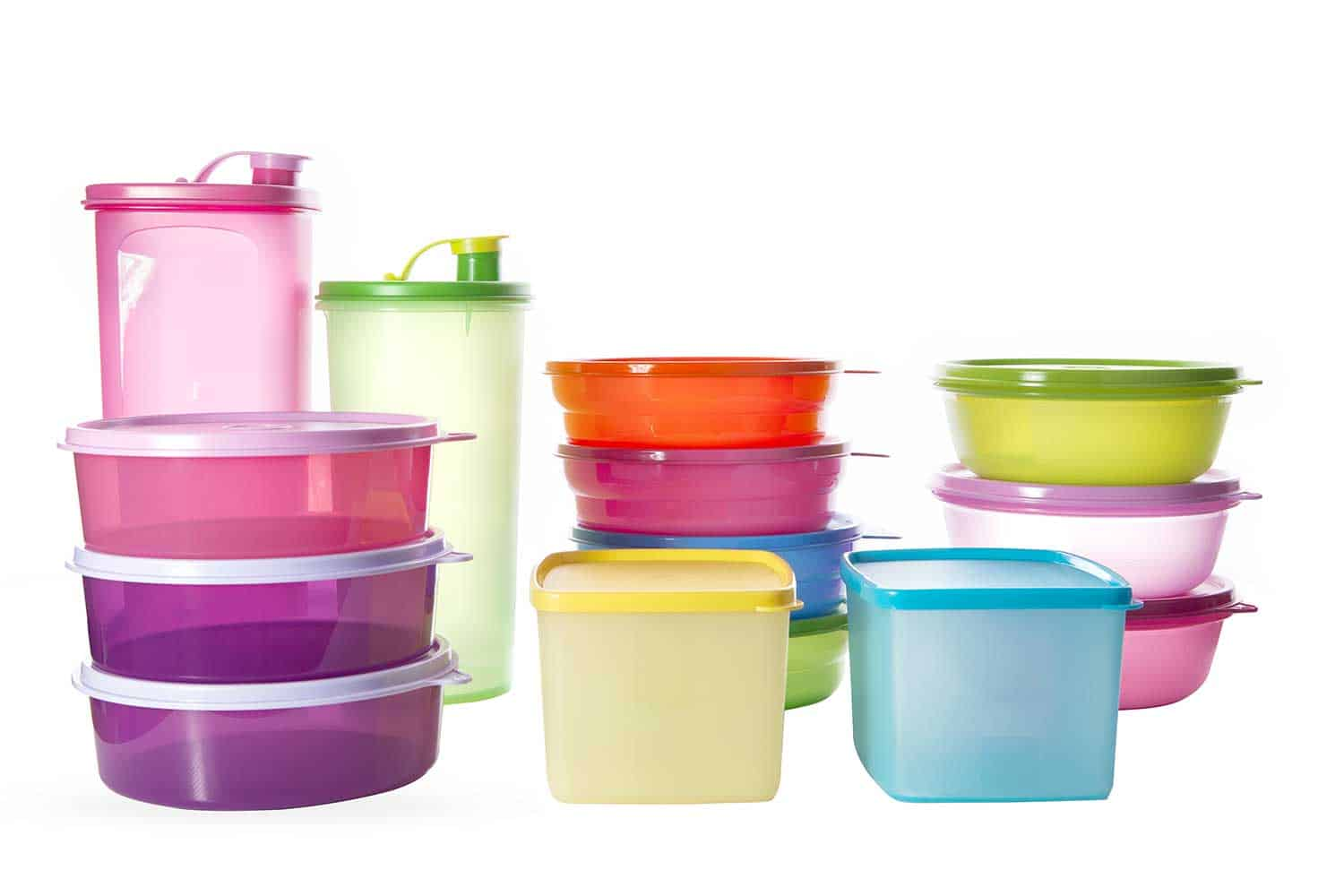 Stack of various Tupperware Brands products including pitchers and small square rounds