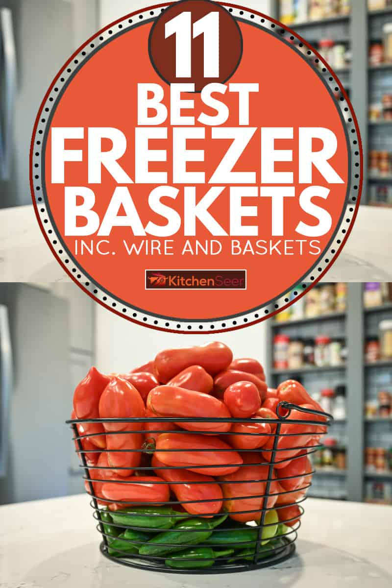 Fresh tomatoes and peppers on a wire basket, 11 Best Freezer Baskets [Inc. Wire and Plastic]