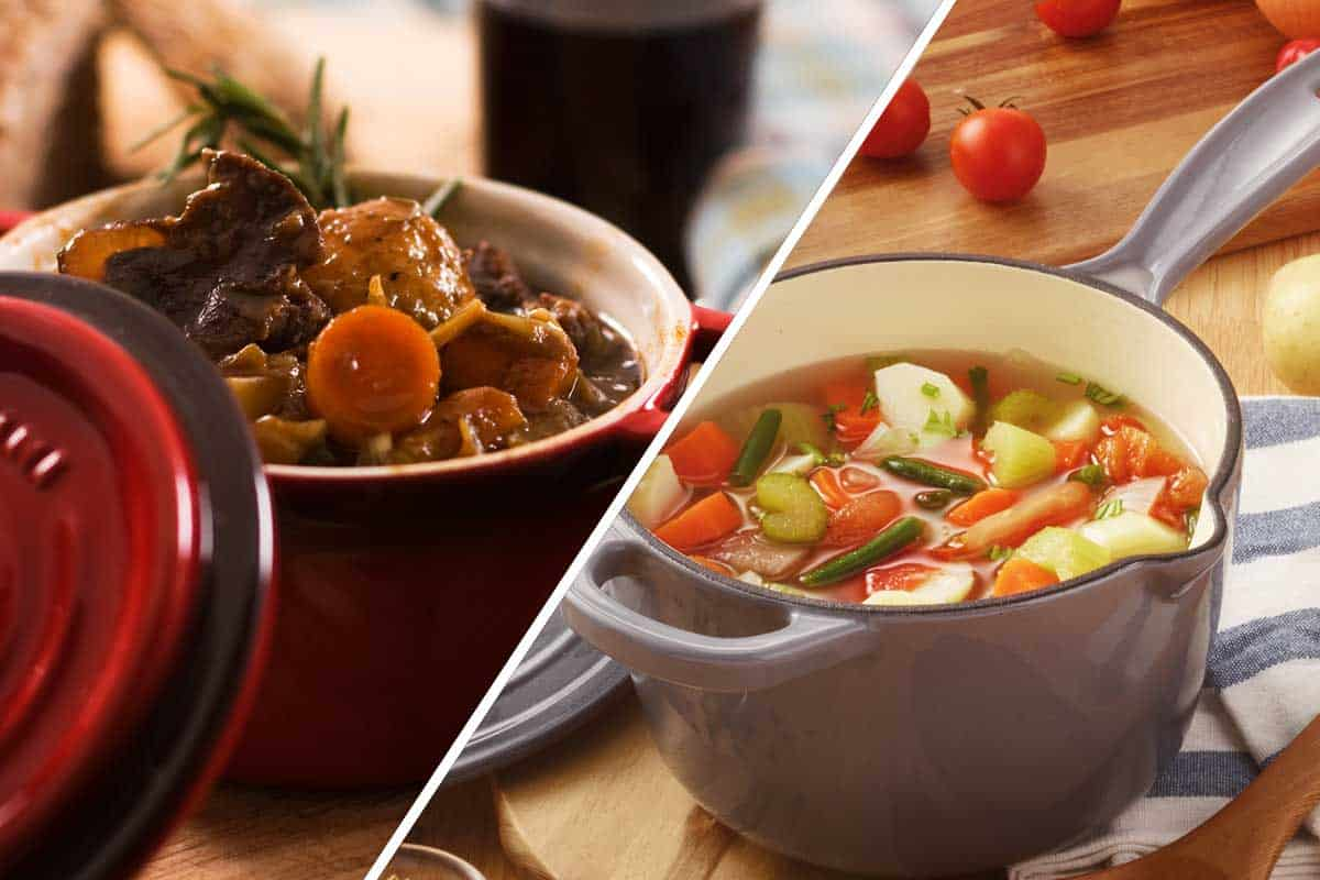 A collage of a stock pot and soup pot, Stock Pot vs. Soup Pot - What's the Difference?