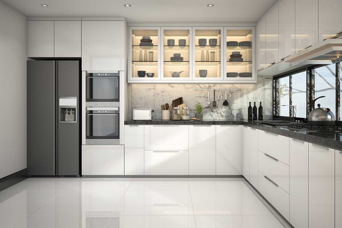 Beautiful modern white kitchen with tiled floor, Do You Tile Under Kitchen Cabinets?