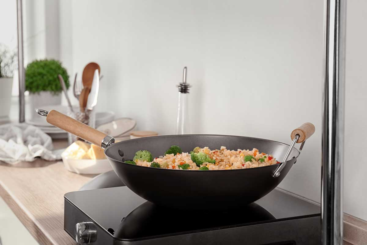 Delicious rice pilaf with broccoli in wok on electric cooker, Does A Wok Work On An Electric Stove?
