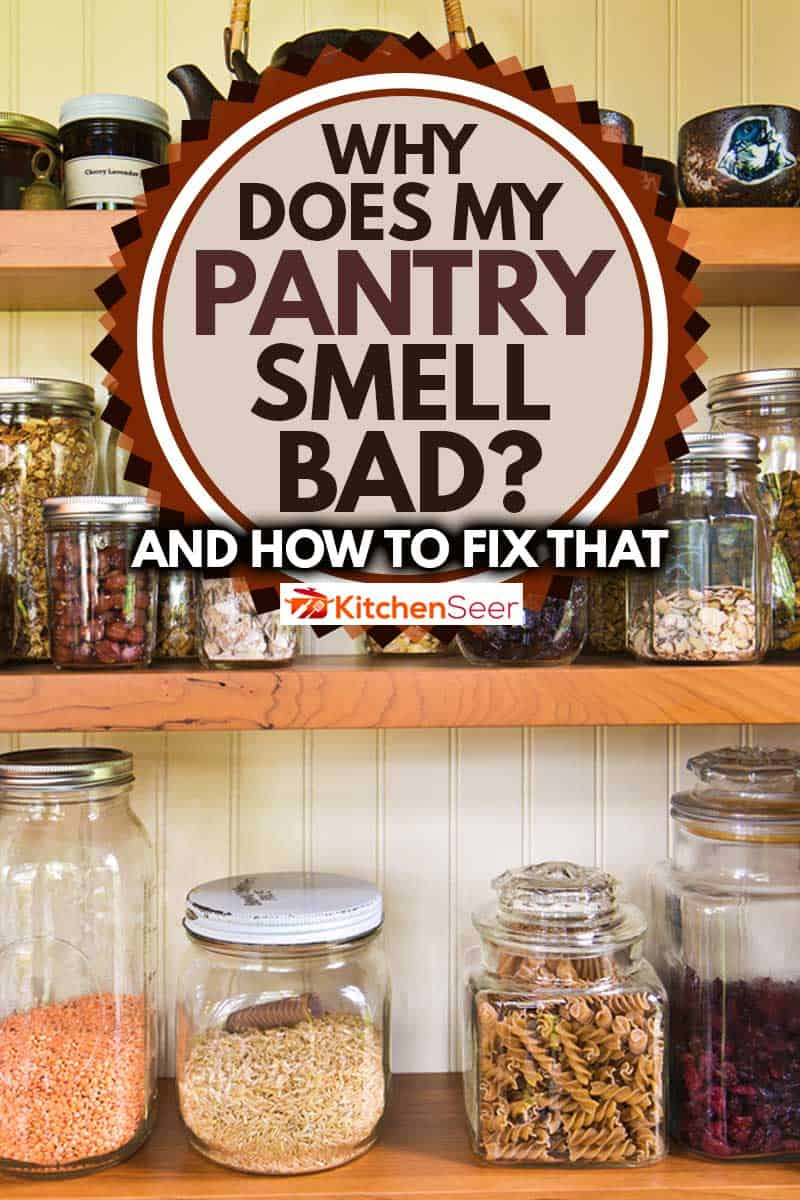 A contemporary classic kitchen renovation remodeling featuring a pantry storage shelf and maple cabinet, Why Does My Pantry Smell Bad? [And How To Fix That]