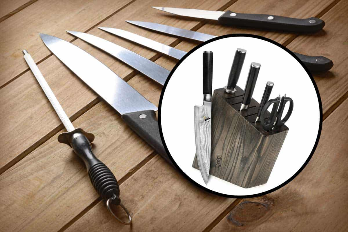 A shun knife block set with a set of kitchen knives on the background, What are Shun Knives Made of (And Do They Rust)?