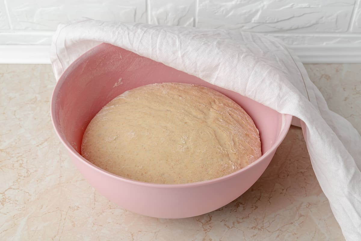 A pink plastic bowl with a fresh yeast dough slowly rising inside, Can Dough Rise In A Plastic Bowl? [And what to do if it doesn't]