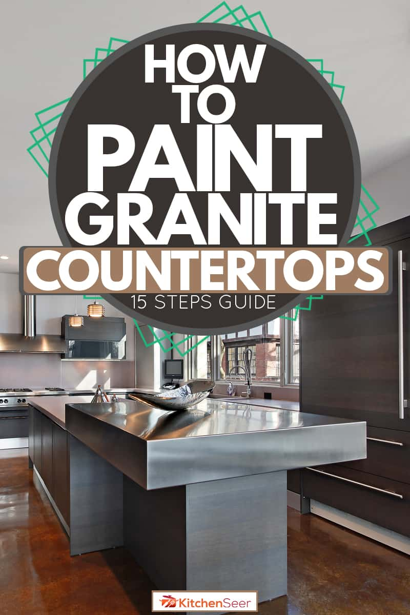 An ultra modern kitchen with a granite countertop, gray appliances, and wooden vinyl flooring, How to Paint Granite Countertops [15 Steps Guide]