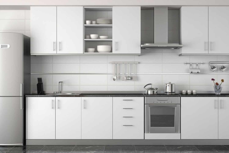 Interior design of modern white kitchen with kitchen cabinets