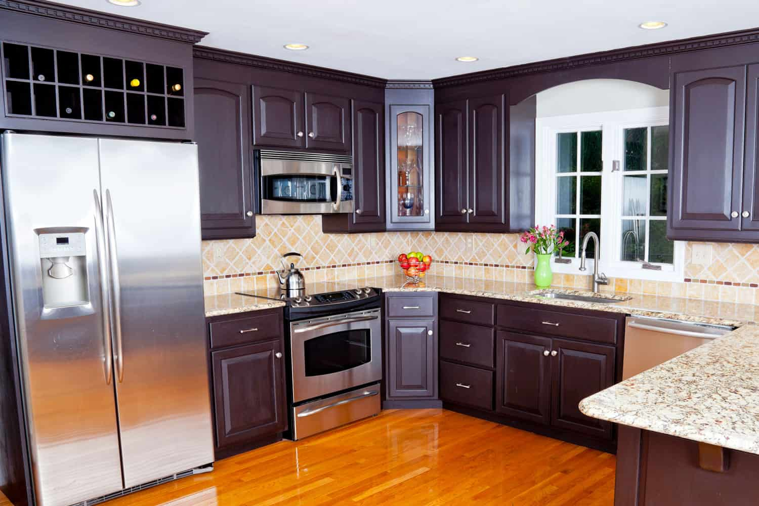 Kitchen with modern furniture and cabinets