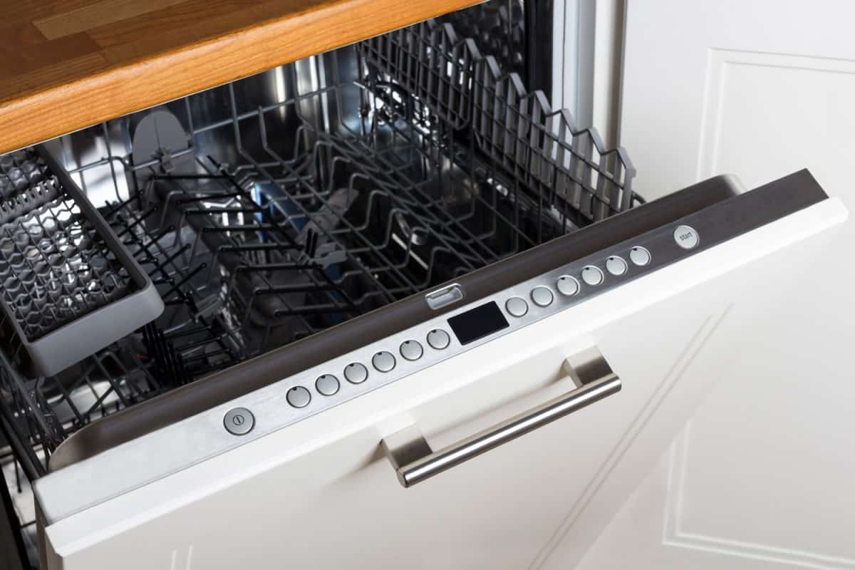 modern Half open empty dishwasher in a modern kitchen, Dishwasher Won't Start But Has Power - What To Do