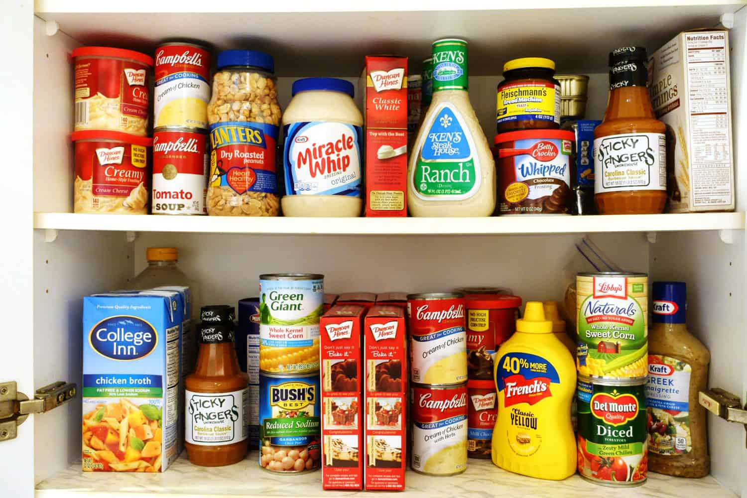 Pantry shelves filled with groceries