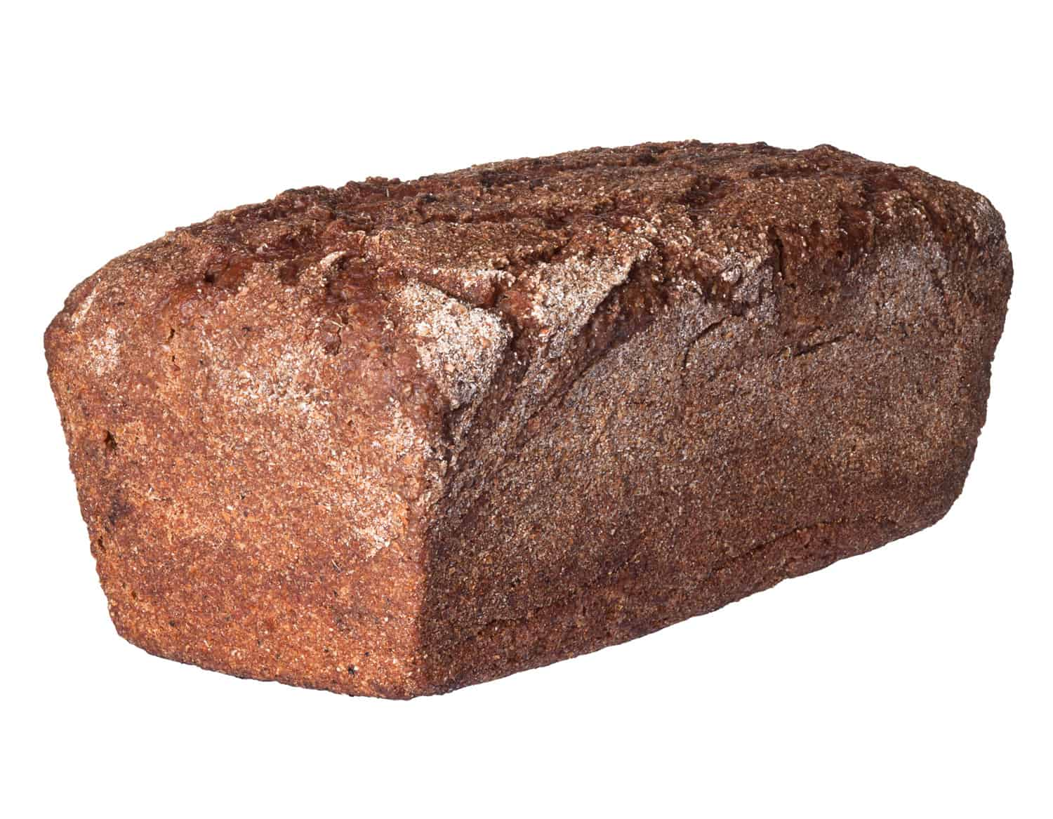 Loaf of rye bread isolated on white background