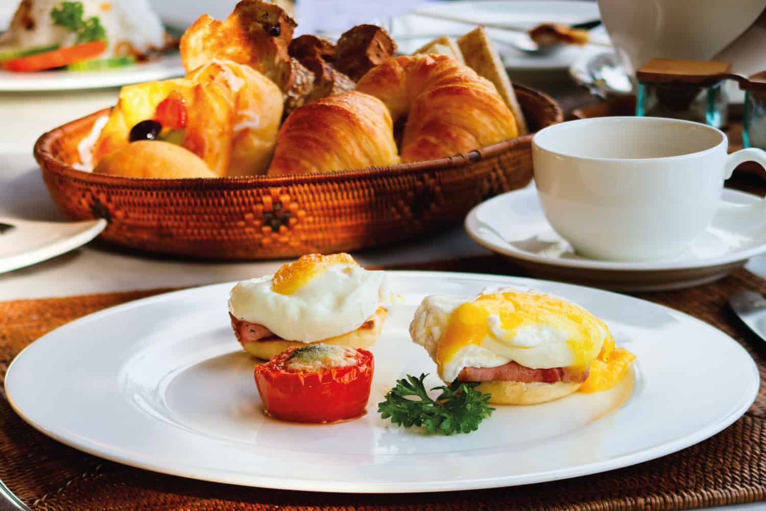 Delicious breakfast with poached eggs