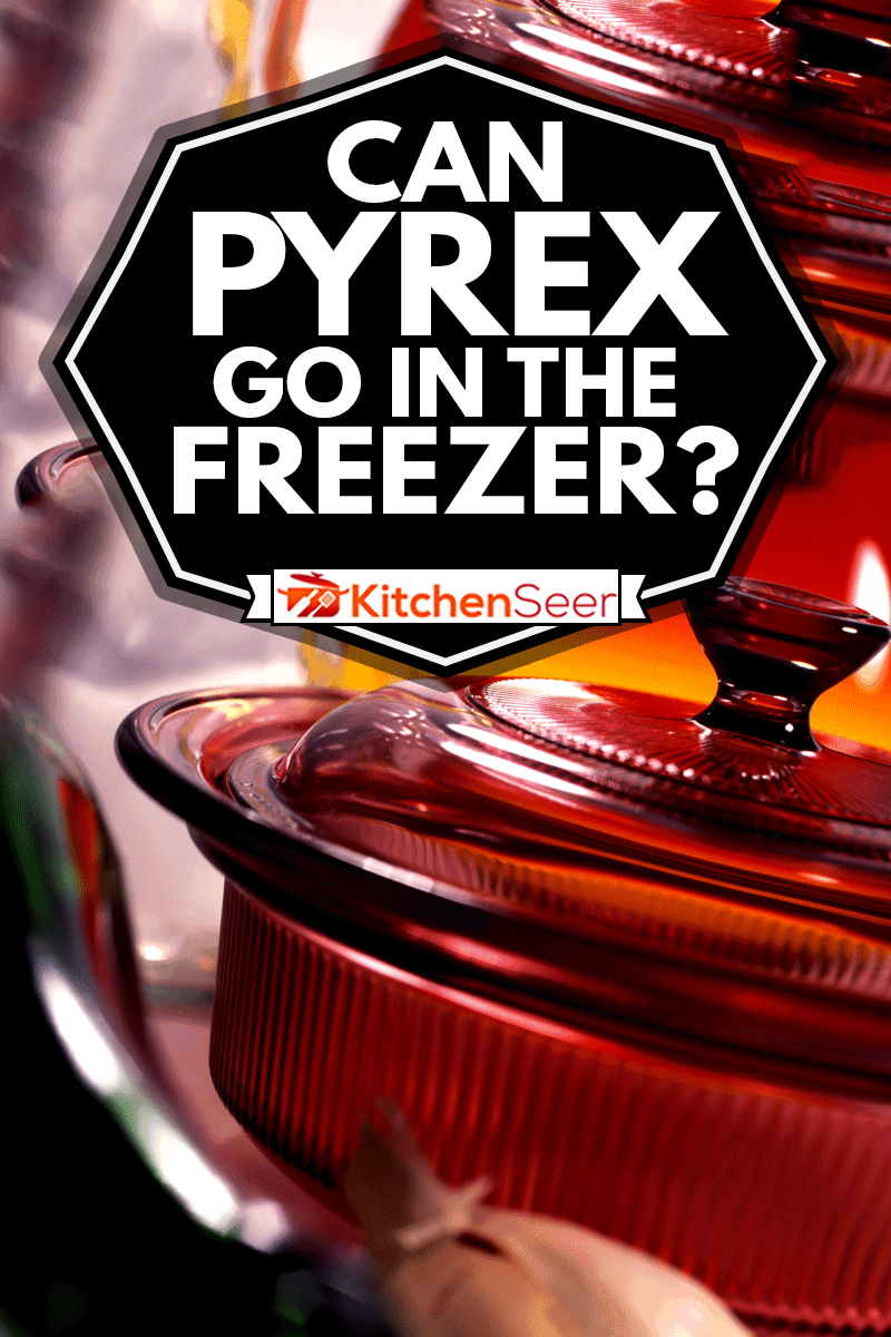 A close up photo of Red Pyrex serving bowl, Can Pyrex Go In The Freezer?