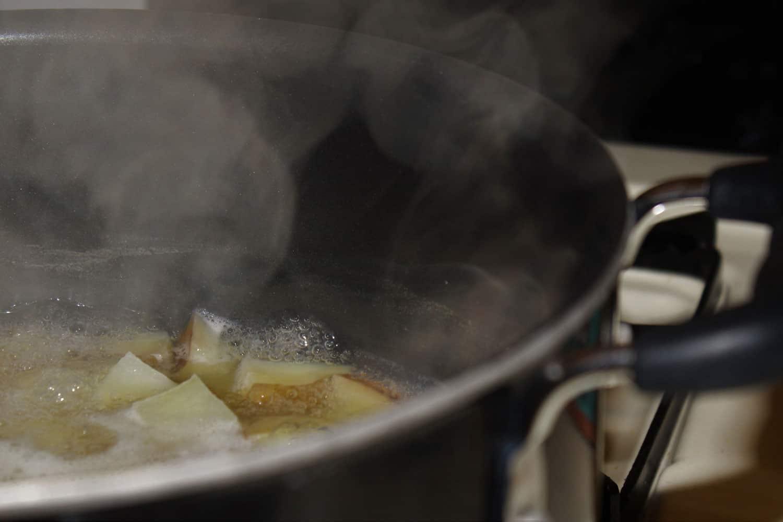 Deep fried potato on a sauce pan