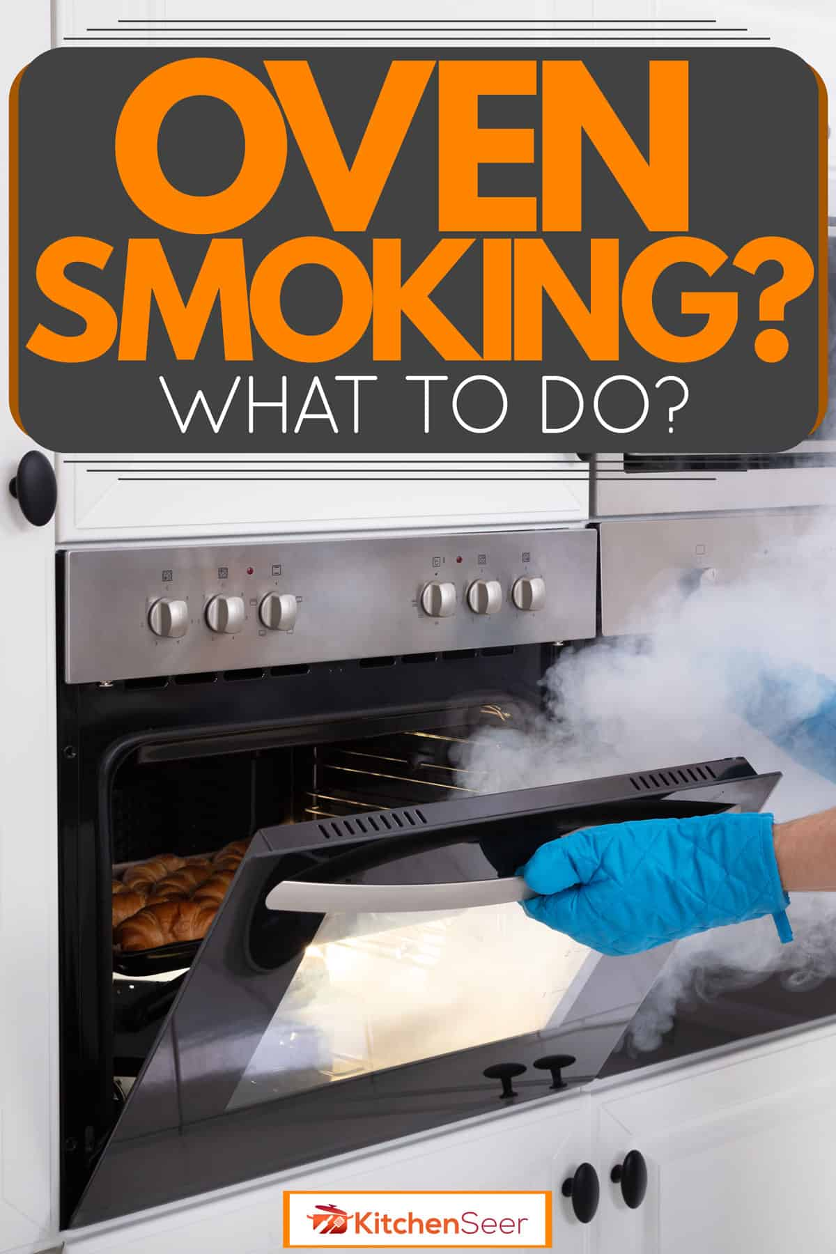 A woman wearing blue hand muffs while safely opening her smoking oven, Oven Smoking – What To Do?