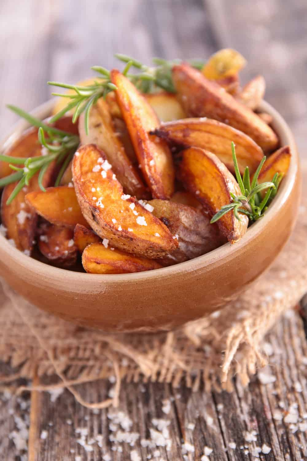 fried potato with rosemary and salt