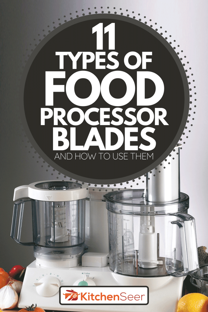 A food processor mixer with tomato, broccoli, lemon and onion on wooden table, 11 Types Of Food Processor Blades And How To Use Them