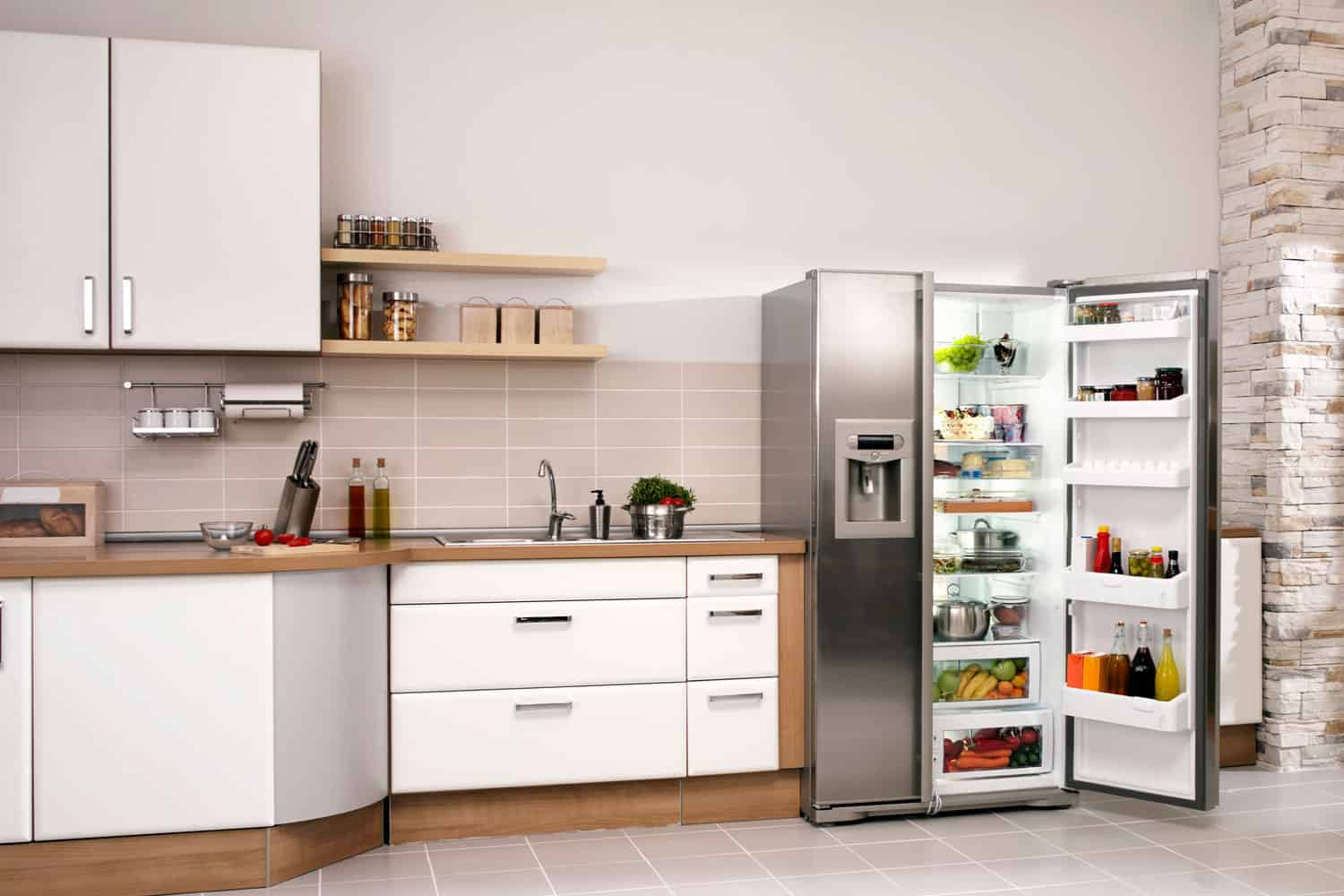 Big kitchen in a modern home with refrigerator and cabinets, What Is The Average Volume Of A Standard Fridge?
