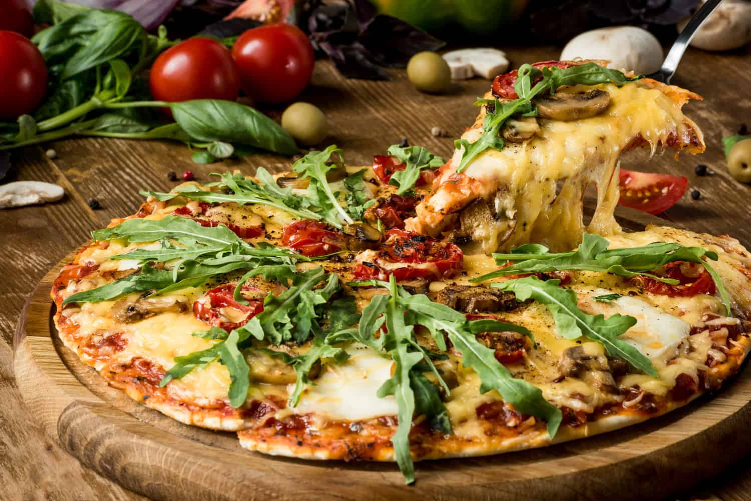 Italian pizza cooked from a convection oven