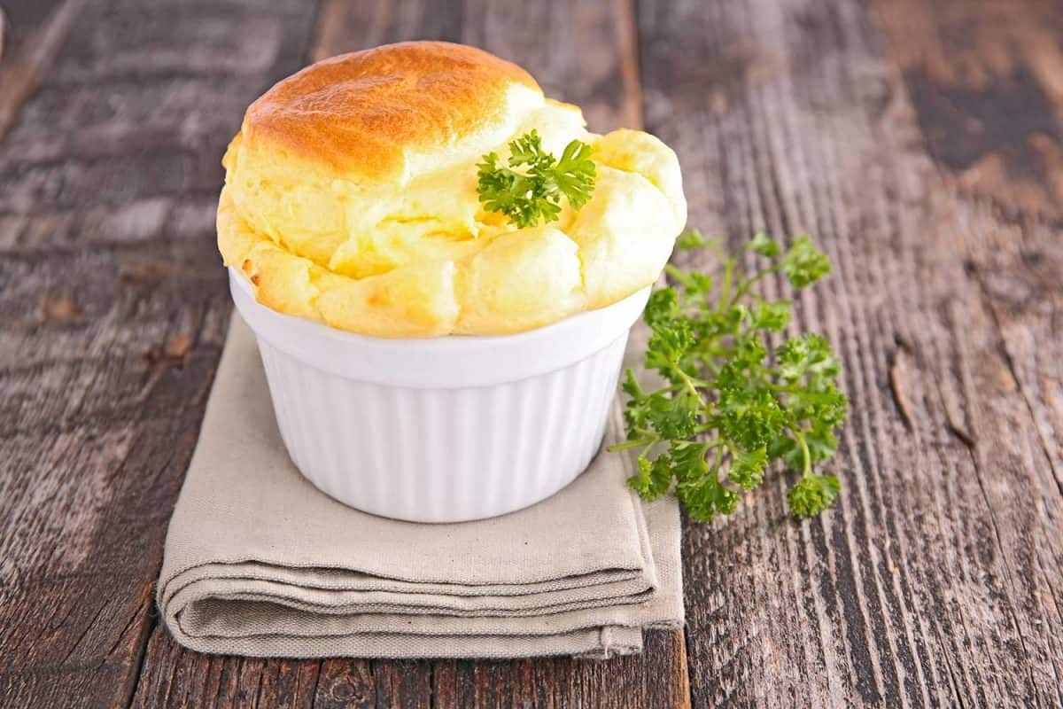Cheese souffle on wooden table