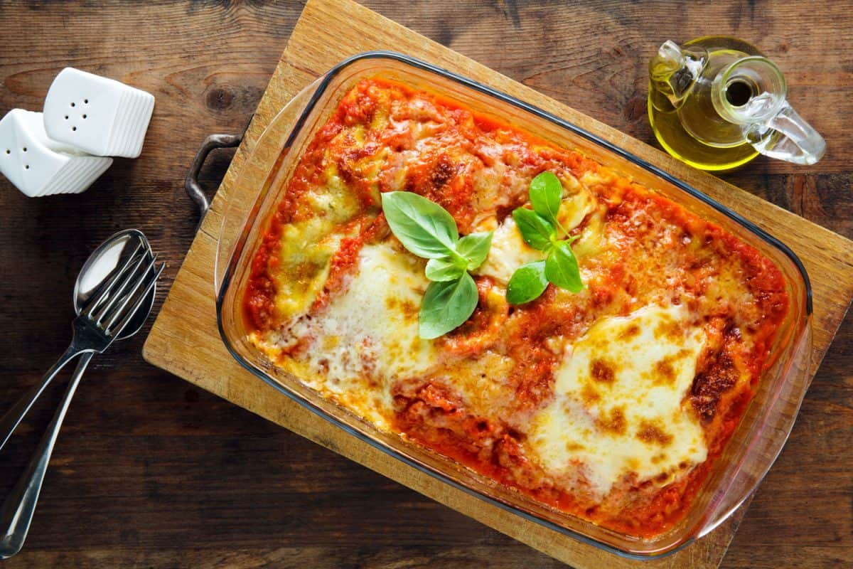 Freshly baked lasagna baked in a rectangular pyrex baking tray, Should You Cover Lasagna With Foil When Baking It?