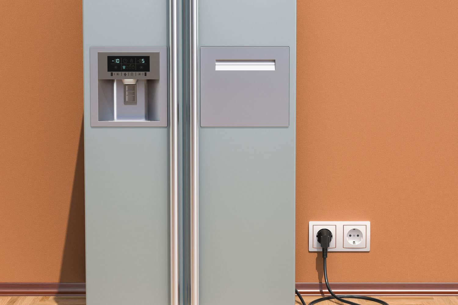 Modern fridge with side-by-side door system in interior, How Many Amps Does A Refrigerator Use?