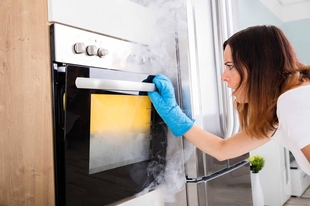 Woman worried when smoke coming out of the oven
