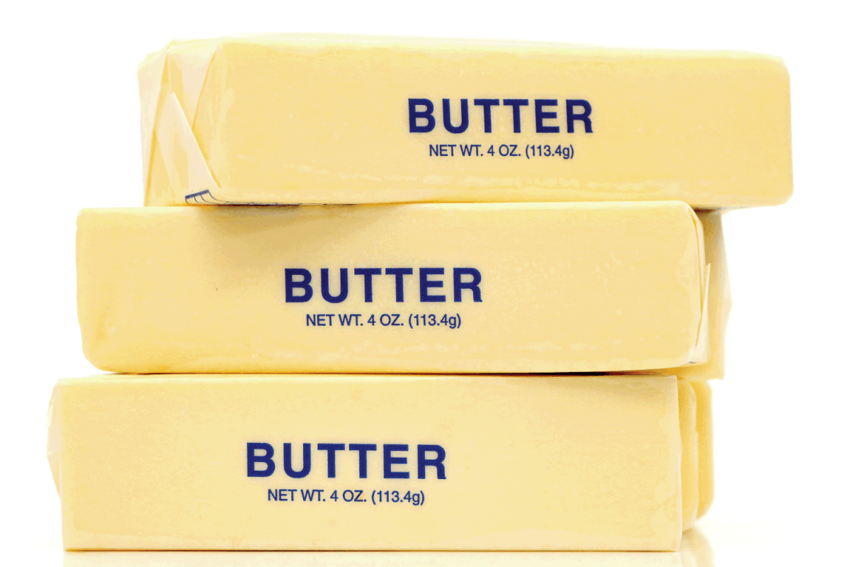 butter quarters stacked on top of each other