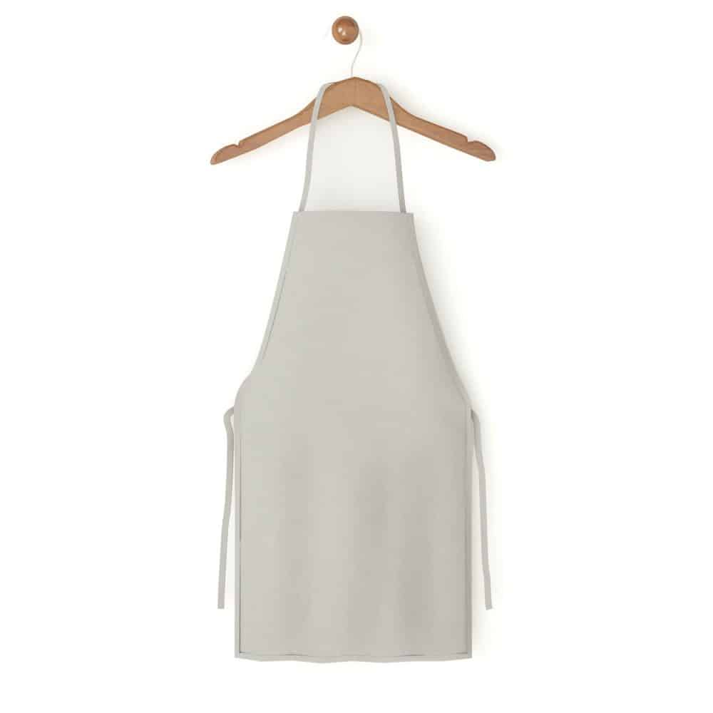 An up close photo of an apron photographed on a white background