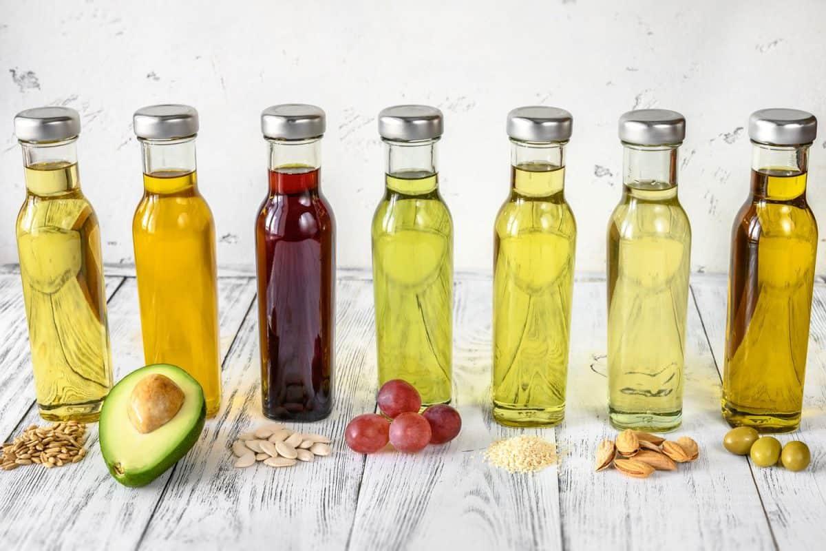 Assortment of vegetable oils in bottles, What Oil Is Best For Frying Chicken?