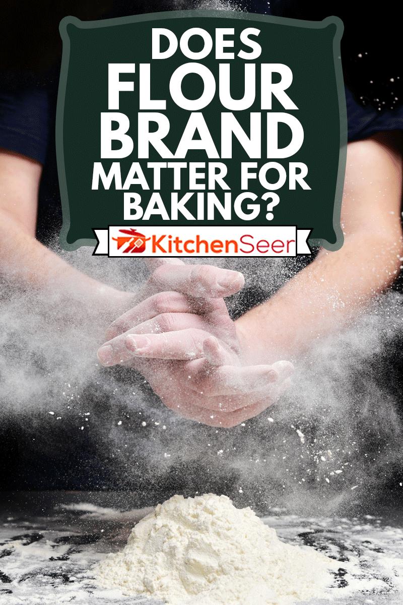 Cook slams splash hands with flour. White dust cloud of flour, Does Flour Brand Matter For Baking?