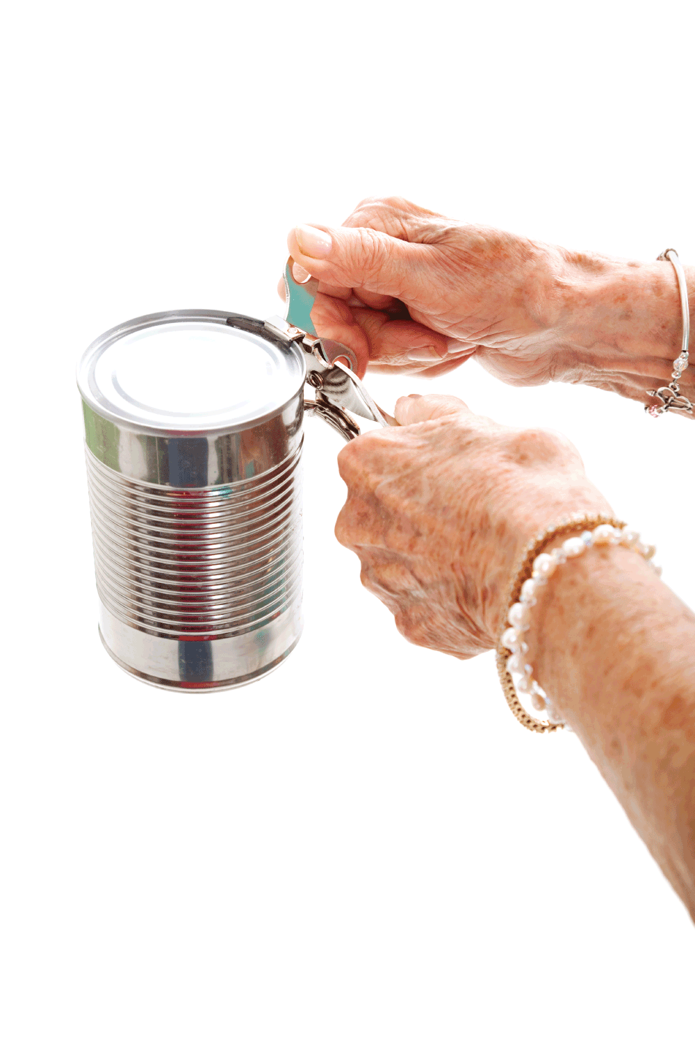 Elderly Hands Struggle with Can Opener