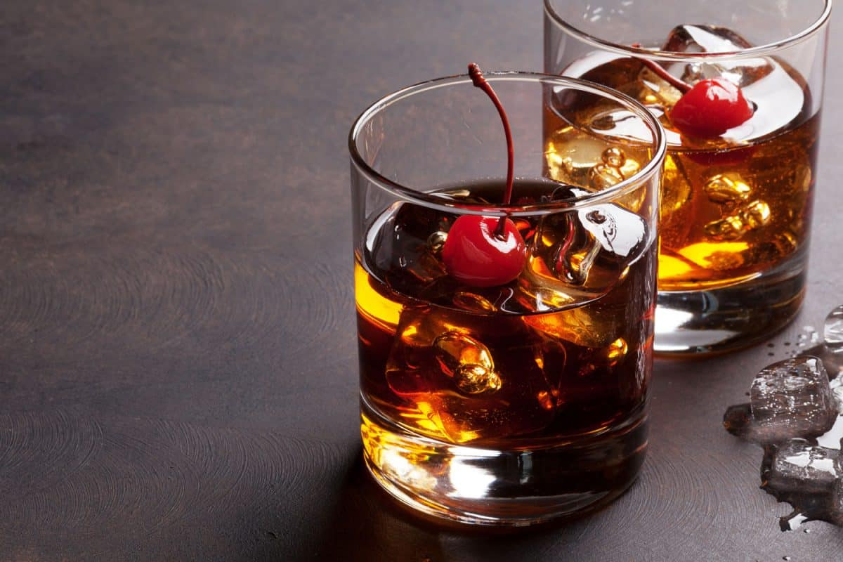Manhattan cocktail with whiskey