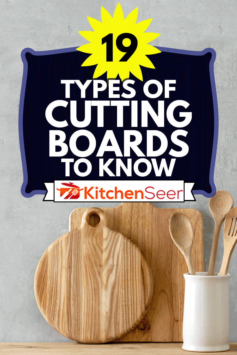 Contemporary kitchen background with kitchen utensils standing on wooden countertop, 19 Types Of Cutting Boards To Know