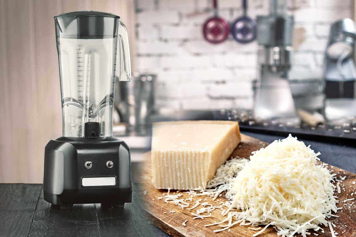 A collage of a blender and grated cheese in the kitchen, Can You Grate Cheese In A Blender?