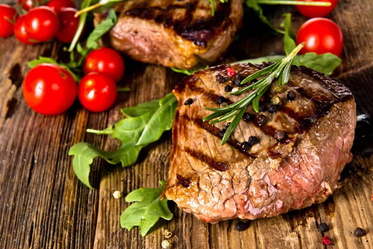 A small beef steak freshly roasted with oregano