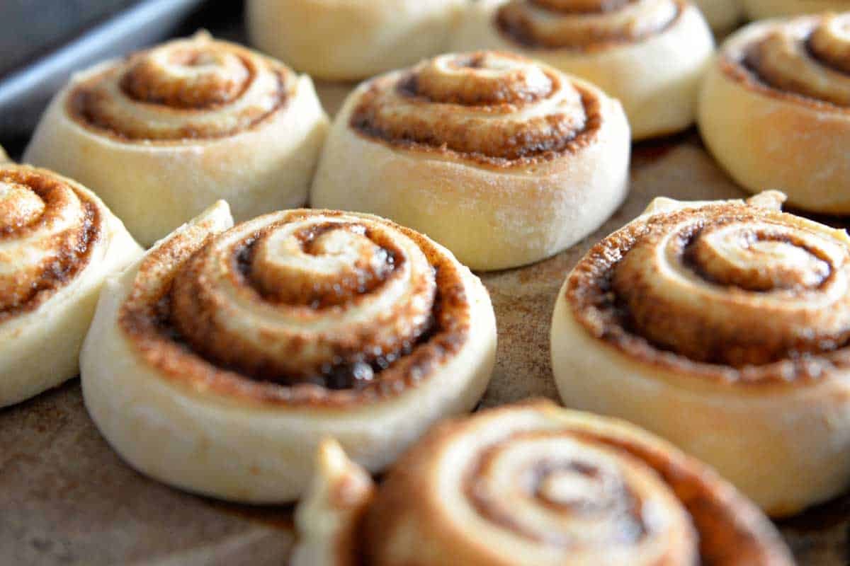 A tray of cinnamon buns fresh from the oven, Do Cinnamon Rolls Need To Be Refrigerated?